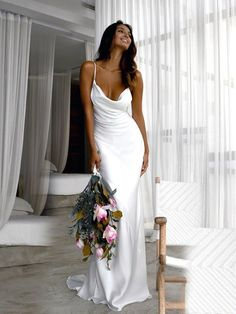 Slip Wedding Dress, Dream Wedding Dresses, Wedding Gowns, White Simple Wedding Dress, Cowl Neck Wedding Dress, Wedding White, White Bridal, Fishtail Wedding Dresses, Wedding Dresses For Petite