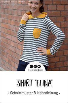 "Neues Schnittmuster: Shirt ""Elina"" - Kreativlabor Berlin Raglan Shirts, Sew Mama Sew, Hoodie, Shell Tops, German"