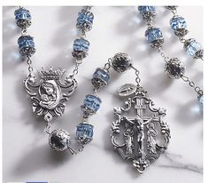 Sapphire Austrian Crystal Queen Madonna Rosary with Loreto Our Father Beads Large Beads