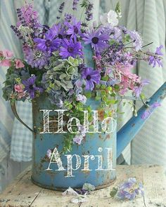 """""""Hello April"""" - with a bouquet of flowers in a watering can Seasons Months, Days And Months, Seasons Of The Year, Months In A Year, Spring Months, Spring Time, Neuer Monat, Calendar Pictures, Hello March"""