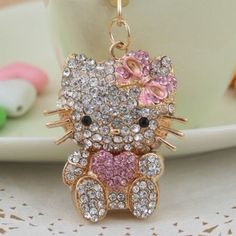 Heart New Hello Kitty Fashion Cat Swarovski Crystal Charm Pendant Key Bag Chain Pink Hello Kitty, Hello Kitty Items, Little Kitty, Make Your Own Keychain, Hello Kitty Jewelry, Pochacco, Miss Kitty, Hello Kitty Collection, Little Twin Stars