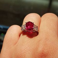 3.91ct classic unheated Burmese ruby set with two beautiful asscher cut diamond side stones. Who could possibly say no to this? #joganibh . . . #rubyred #burma #untreated #finegems #rubylove #instagems #showmeyourrings #antiquejewelry #asschercut #diamond #ido #buythisforme #engagementring #love #coloredstones #ruby #red #burmarubies #Burmese #gemstones #preciousgem #want