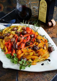 Roasted Bell Pepper Salad with Kalamata Olives & Fresh Herbs