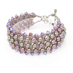 The Eve Freshwater Pearl Bracelet makes a statement with 5 mm freshwater pearls and Swarovski crystals which are intricately placed. Crystal Bracelets, Crystal Necklace, Beaded Earrings, Sterling Silver Bracelets, Wrap Bracelets, Freshwater Pearl Bracelet, Pearl Jewelry, Diy Jewelry, Bracelet Patterns