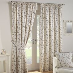 Julian Charles Leaf Trail Natural Tapestry Look Lined Pencil Pleat Curtains (Pai | eBay
