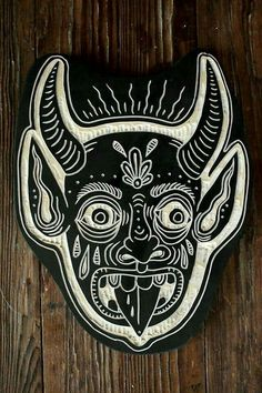 Another devil head for the Austin Convention. Linolium, Tattoo Samurai, Schrift Tattoos, Illustration Art, Illustrations, Linoprint, Arte Popular, Linocut Prints, Traditional Tattoo