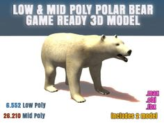3d low and mid poly polar bear model. Game Ready and ready for rigging.  Poligon counts of model Polar-Bear-M (Medium) : P : 26.208 - V : 26.210 Polar-Bear-L (Low) : P: 6.552 - V : 6.554