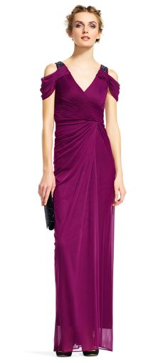 Adrianna Papell   Open Beaded Shoulder Dress with Ruched Details
