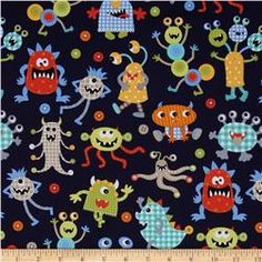 Kristen quilted pad (1)  Michael Miller It's A Boy Thing Monster Mash Navy