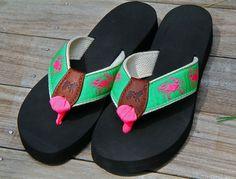 Pink Crabs Flip Flops