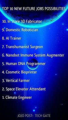 TECH GATE: TOP 10 NEW FUTURE JOBS POSSIBILITIES 10. In Store 3D Fabricator 9. Domestic Robotician 8. AI Trainer 7. Transhumanist Surgeon 6. Nanobot Immune System Augmenter 5. Human DNA Programmer 4. Cosmetic Bio printer. 3. Vertical Farmer 2. Space Elevator Attendant 1. Climate Engineer