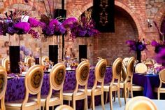 Purple is the 'it' color! Rentals and decor in various shades of purple, combined with gold accents!