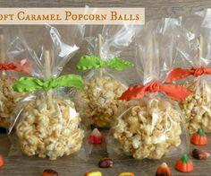 Soft caramel popcorn balls  Uses marshmallows