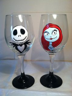 Nightmare Before Christmas Inspired Wine Glass by TheMADPainterVA, $72.00  The price on these!  I can paint too, I wonder what kind of paint to use though.