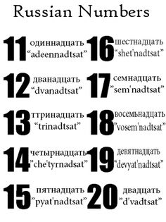 Russian Numbers 11-20 ... Already knew this! (Learning Russian little by little.)