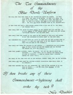 10 Commandments of the Blue Devil uniform. (circa 1977)  When you march in DCI you always respect the uniform. The uniform defines you as a person and as a group