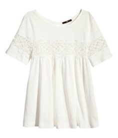 H & M lace jersey tee top ivory