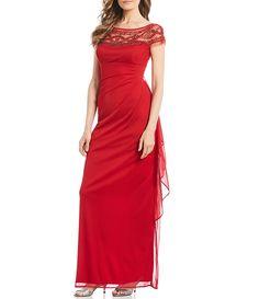 9934ad593b R   M Richards Mesh Beaded Yoke Ruffle Skirt Long Gown Dress And Heels