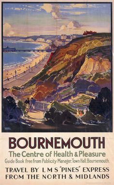 Canvas Print (other products available) - Poster produced for the London Midland & Scottish Railway showing Bournemouth as a seaside attraction. Artwork by Leonard Richmond (d - Image supplied by National Railway Museum - Canvas Print made in Australia Posters Uk, Railway Posters, Poster Prints, Art Prints, Framed Prints, England Travel Poster, British Travel, British Seaside, British Isles