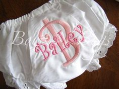 Monogrammed Diaper Cover Bloomers for Girls  by bowsnbugs on Etsy, $12.00