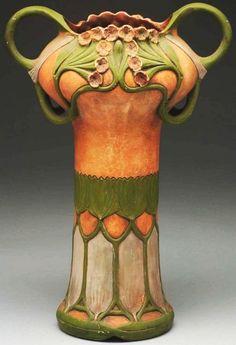 Julius Dressler Ceramic Art Nouveau Vase with Stylized Handles and Floral Motif