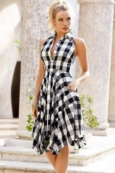 This collared shirtdress with billowy pleats, button front bodice, side seam pockets & handkerchief hem to complete your lookchic and modest black white gray check patterns all over. Day Dresses, Cute Dresses, Casual Dresses, Fashion Dresses, Summer Dresses, Midi Skater Dress, Dress Skirt, Shirt Dress, Vestidos Vintage
