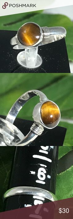 7mm Tiger's Eye Cabochon Sterling Silver Ring A-11-75 Natural Tiger Eye Set in a .925 Handmade size 6.5 Sterling Silver Ring Handmade by HM Simon Jewelry Rings