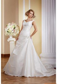 V-neck Bodenlang Schlichte Brautkleider 2014 aus Satin