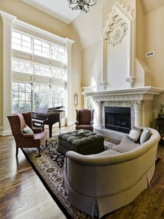 Custom Two Story Fireplace by Celtic Construction/Lee Scarlett for this amazing Music Room
