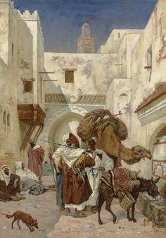 """""""At the Watering through"""", 1890, Albert Joseph Franke (1860-1924)."""