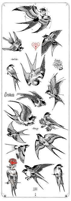 Swallow Tattoos – Exploring the Symbolic Meaning of Swallow Tattoo Designs Trendy Tattoos, New Tattoos, Body Art Tattoos, Tattoo Drawings, Sleeve Tattoos, Buddha Tattoos, Tattoo Ink, Hand Tattoos, Tattoo Wolf