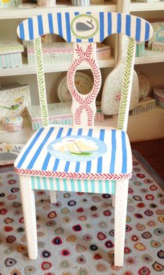 hand painted kids table and chair set 96   deckss.com