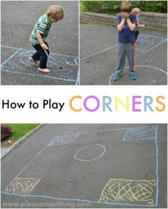 How to Play Corners - an active game to practice colors, letters, numbers, and shapes!