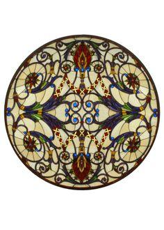 """Meyda 42""""W X 42""""H Spiral Victorian Medallion Stained Glass Window"""