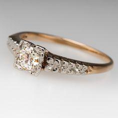 1940's+1/4+Carat+Floral+Diamond+Ring