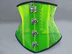 UV Blacklight GLOW Transparent Neon PVC Circuit Print Cyber Goth Corset-gothic