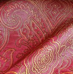 100% SILK FINE LINE DAMASK LAMPAS PAISLEY VICTORIAN RED BTY