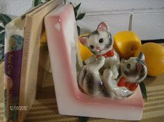 Vintage Bookend with Kittens by bubblestickle on Etsy, $14.00