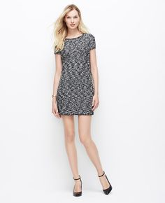 Boucle Sweater Dress l Ann Taylor Wear it now with heels, wear it later with tights and boots.