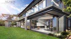 New Contemporary Constantia home_ Lounge_Del Fante Design Architects_ Cape Town #Architecture #Contemporary #Entrance #DarkGreyHouse #OffShutterConcrete #Fireplace