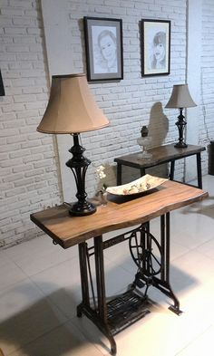 Live edge Mohagony console table. sewing mechine table.