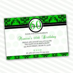 Custom Personalized Leafy Green Damask Adult Birthday Party Invitations 21st 40th 50th 60th 70th 80th Bridal Shower Anniversary Printable