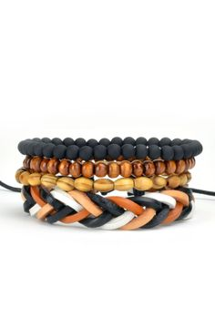 Add a little color to your outfit. This 4 Pack Modestbracelet setcomes with 2 different wood beaded bracelets, 1 matte black resin beaded bracelet and 1 cord