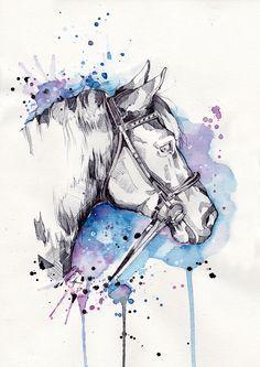 Hardie by Marie-Ève Arpin - Art https://www.facebook.com/MarieEveArpinArt?ref=hl Horse Drawing Watercolor Pencil Art