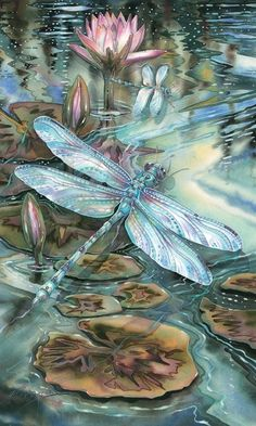 Dragonfly with water lilies lily Dragonfly Quotes, Dragonfly Art, Dragonfly Tattoo, Dragonfly Painting, Dragonfly Drawing, Beaded Dragonfly, Silk Painting, Painting & Drawing, Art Carte