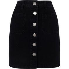 Miss Selfridge Patch Pocket Skirt, Black ($36) ❤ liked on Polyvore featuring skirts, miss selfridge, a line skirt, knee length a line skirt and miss selfridge skirts