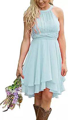 online shopping for Women's Country High Low Halter Chiffon Bridesmaid Dress Western Wedding Guest Dress from top store. See new offer for Women's Country High Low Halter Chiffon Bridesmaid Dress Western Wedding Guest Dress Western Bridesmaid Dresses, Turquoise Bridesmaid Dresses, Western Dresses For Women, Knee Length Bridesmaid Dresses, Knee Length Dresses, Casual Dresses For Women, Dresses Dresses, Chiffon Dresses, Chiffon Fabric