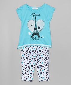 Love this Turquoise 'Amour Paris' Top & Lace Leggings - Girls on #zulily! #zulilyfinds