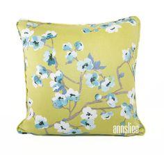 Blue Blossom On Chartreuse Pillow-Front 0001 V2.jpg