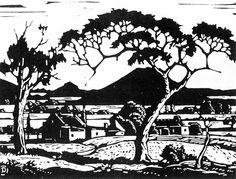 A black and white woodcut by Pierneef Art Prints, Art Images, Art Drawings, Encaustic Art, Art, South African Art, Tree Drawing, Card Art, South African Artists